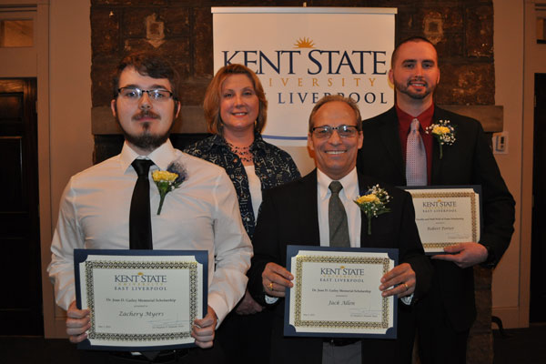 Scholarship recipients included (front, from left) Jack Allen and Zachery Myers, receiving the Dr. Joan D. Gailey Memorial Scholarship; and (back, right) Robert Porter, receiving the Faculty and Staff Wall of Fame Scholarship with Assistant Dean Dr. Susan Rossi