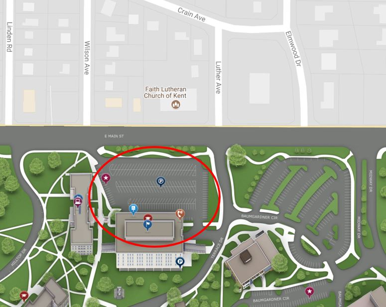 Kent State University White Hall parking lot