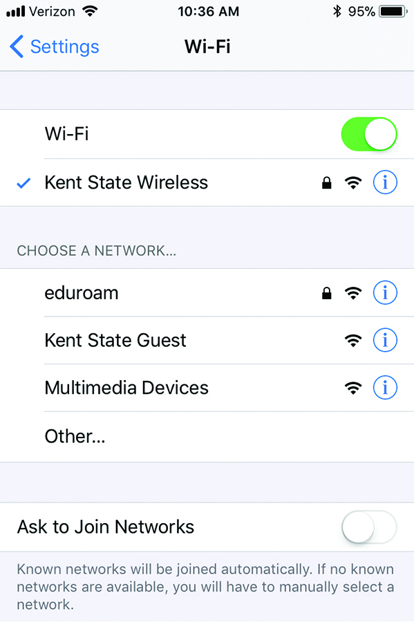 screenshot of mobile phone displaying available wireless networks