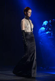 """Kent State fashion design graduate Will Riddle's collection """"Nyx"""" is the Greek goddess and personification of the night. """"As a figure of exceptional power and beauty, she is found in the shadows of the world and only ever seen in glimpses,"""" he says."""