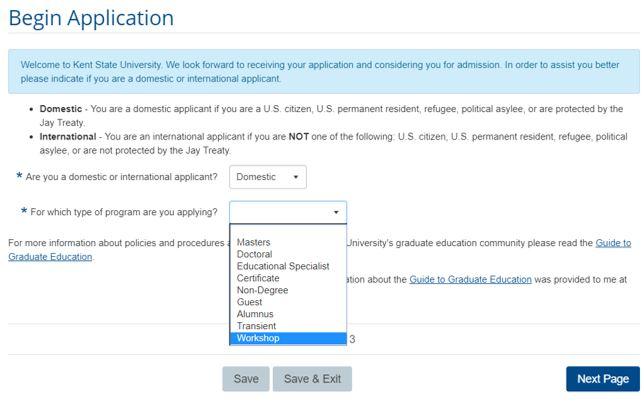 Workshop Drop Down in Credit Workshop Registration Application