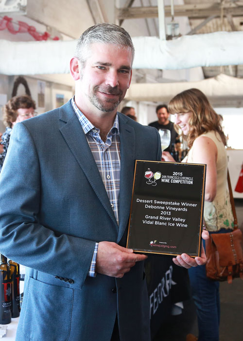 Winemaker Ed Trebets with his award from the  2015 San Francisco Chronicle Wine Competition