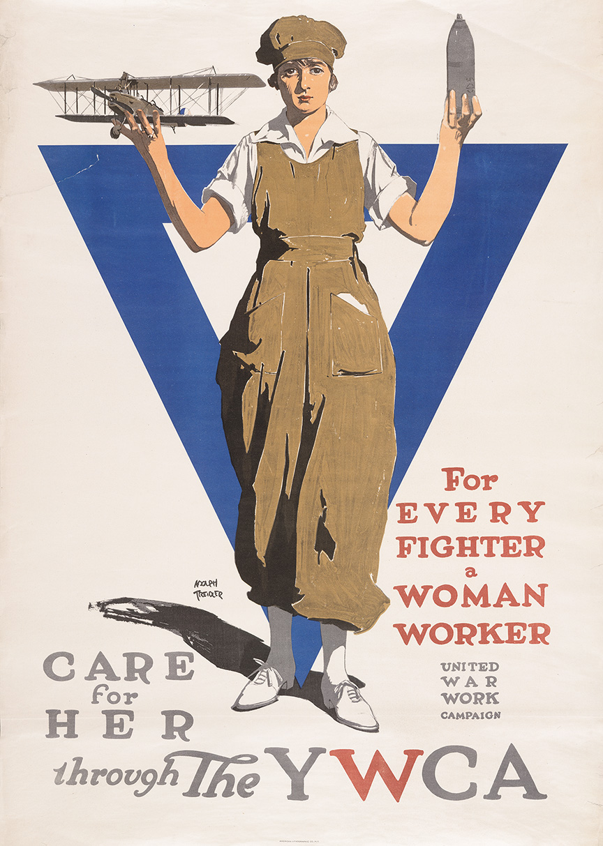 For every fighter a woman worker Adolph Treidler American, circa 1918 Color lithograph poster