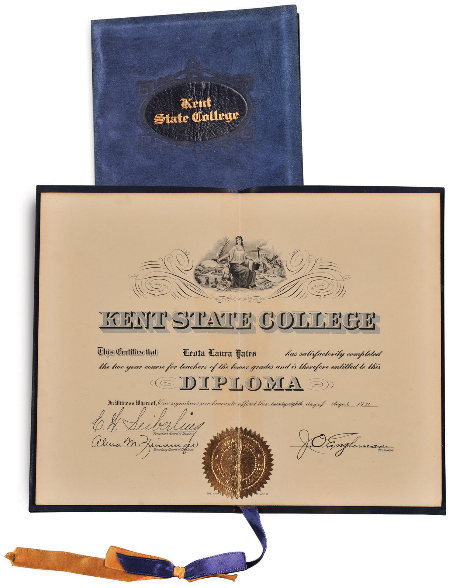 1934 diploma from Kent State College