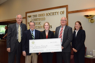 Kent State University senior accounting major Lauren Romick (center) of Stow, Ohio, received a $3,000 first-place honor as the 2013 Scholarship Day award recipient from the Ohio Society of CPAs.