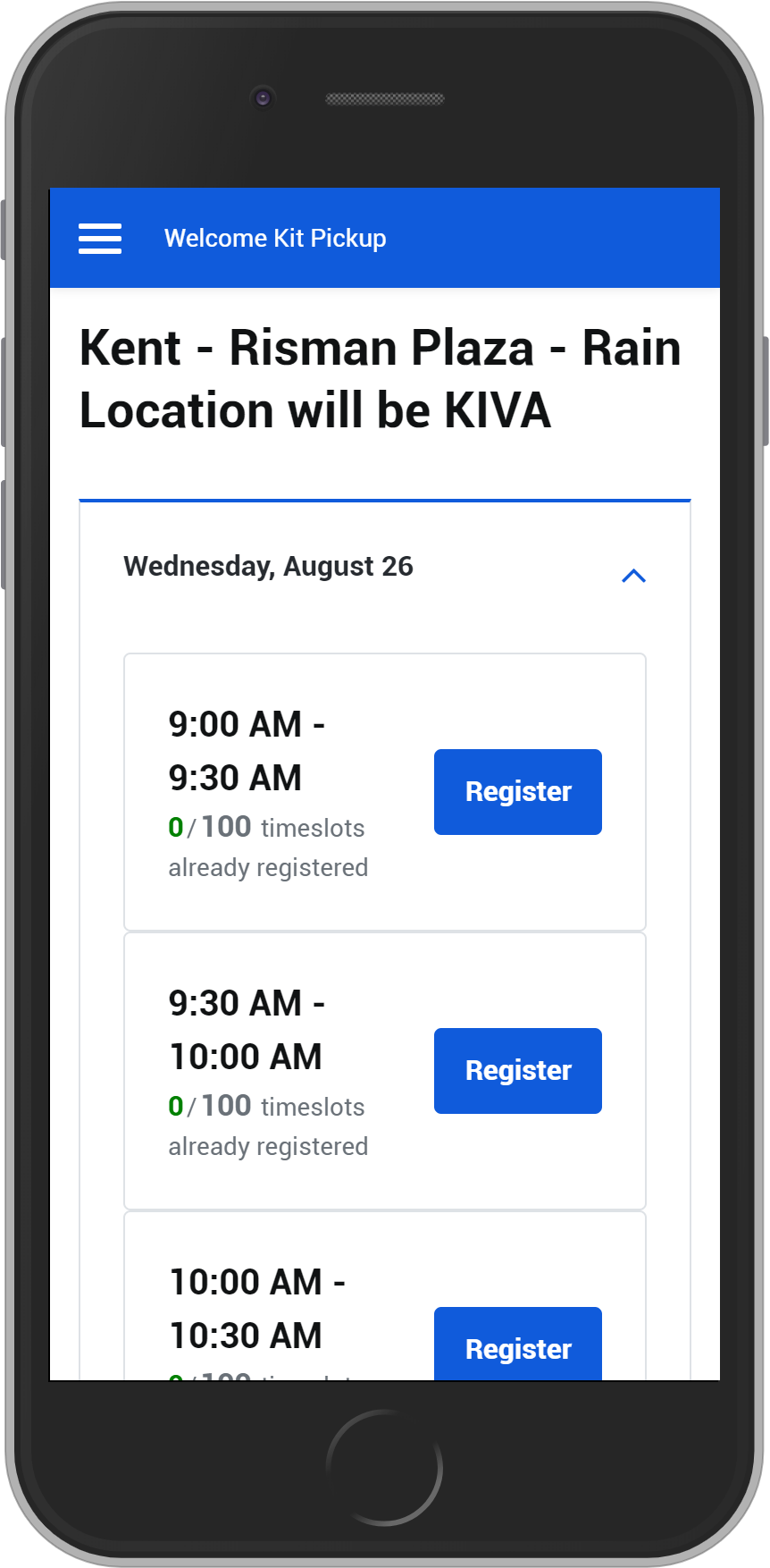 Screenshot of location and time selection in the Welcome Kit Pickup app