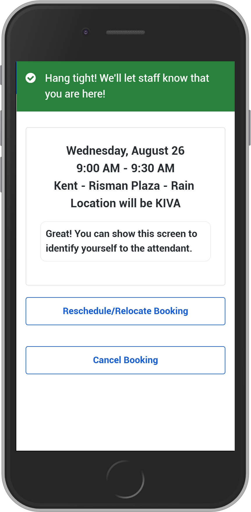 Screenshot of the pickup confirmation screen in the Welcome Kit Pickup app