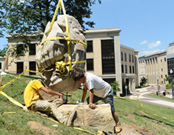 """Athleta"" by Giancarlo Calicchia was installed on the University Esplanade Sculpture Mile, between Terrace Drive and Kent Hall."