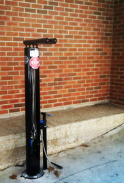 A bike repair station has been installed on the Kent State University Esplanade, between the Kent Student Center and the Kiva.  (Photo provided by Brandon Richards)