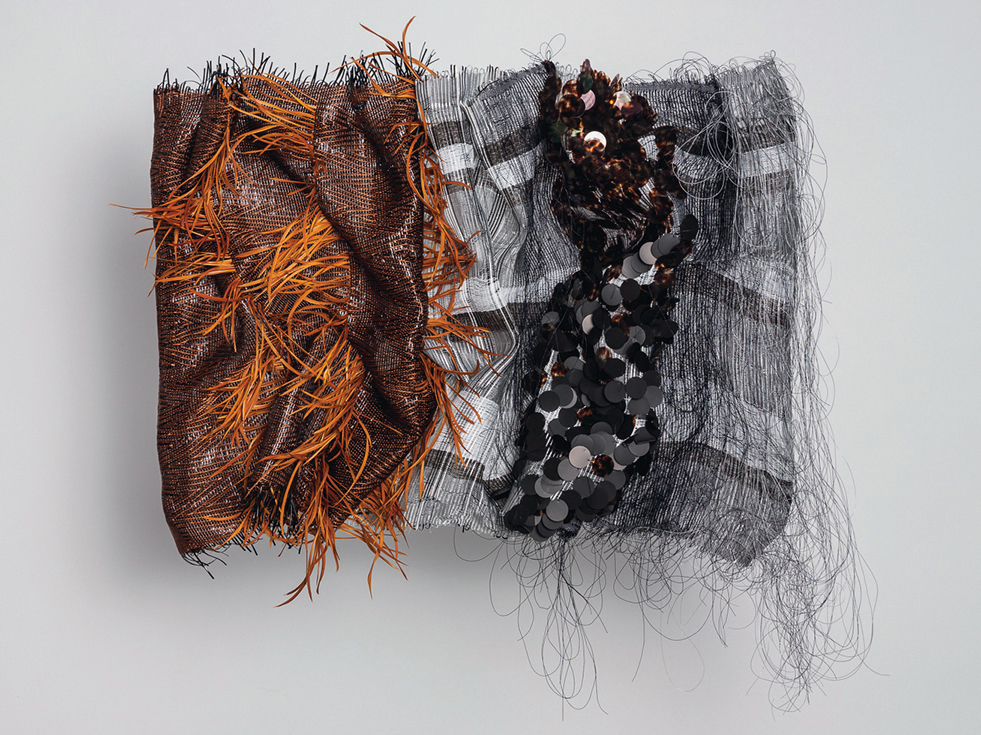 """Corduroy 2 Michael Radyk, Kutztown, PA 32 x 36 x 7"""" Mixed media woven sculpture, woven corduroy, vinyl coated recycled  polyester, feathers, repurposed plastic tape and paillettes cut and manipulated"""