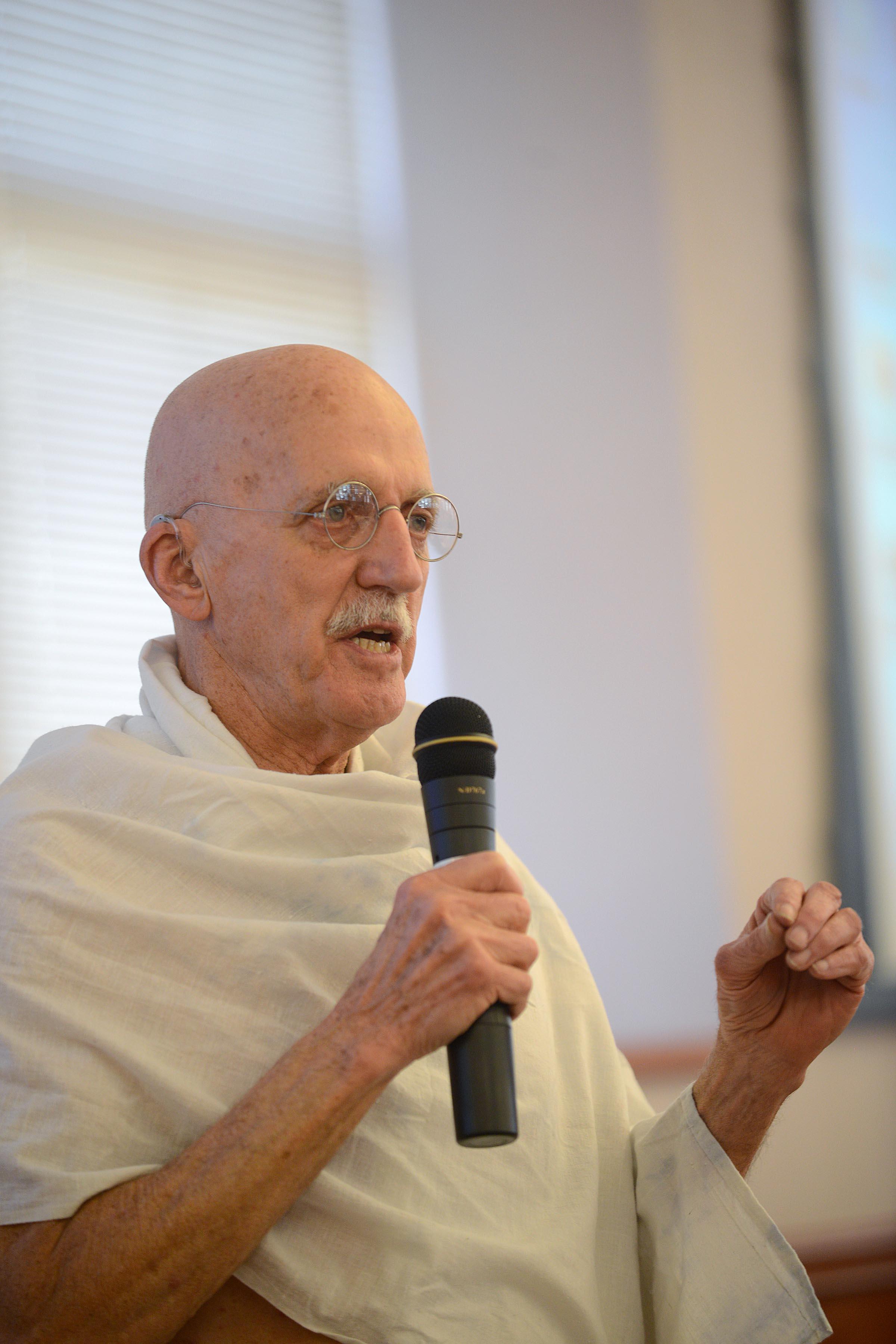Gandhi portrayed by Bernie Meyer