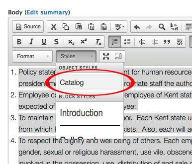 Menu location of Catalog Style