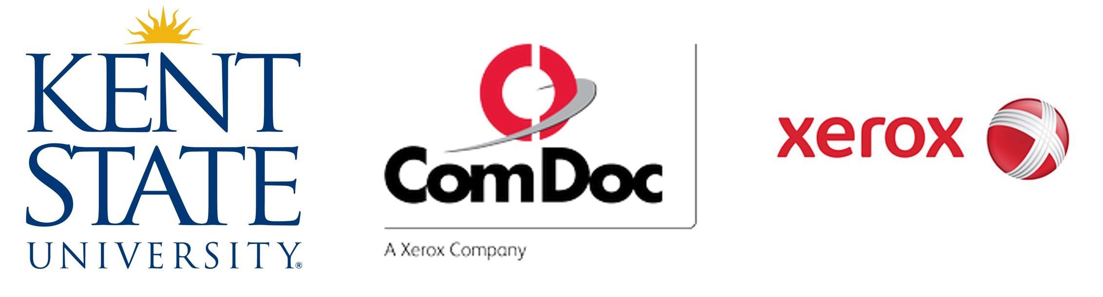 Kent State University, ComDoc, and Xerox Logos
