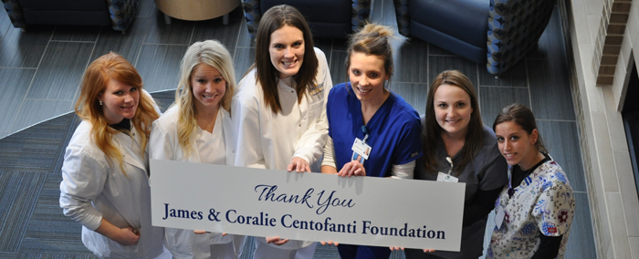 Nursing and Radiology students offer thanks to the James & Coralie Centofanti Foundation.
