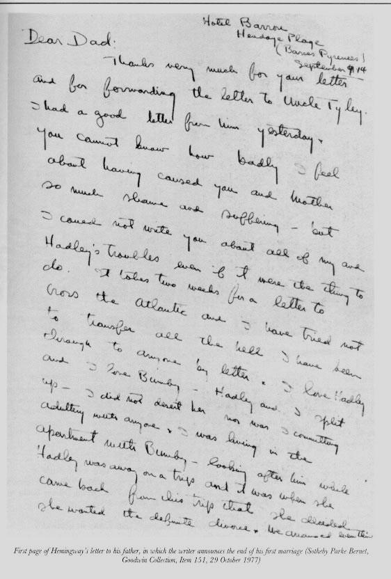 Ernest Hemingway Letter