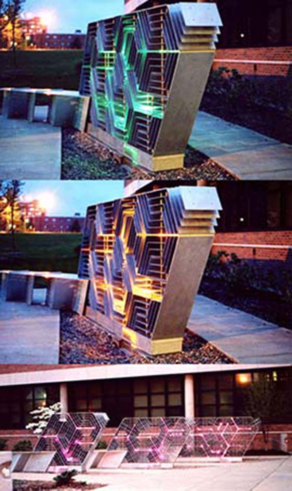 """Illuminated by fiber optics, """"Engagement With Color"""" by artist Mikyoung Kim is located in front of the Liquid Crystal Materials Science Building."""