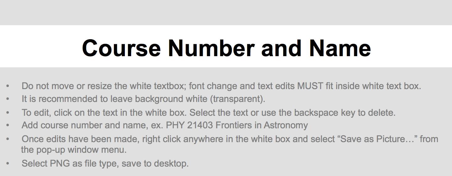 Screenshot of Blackboard instructions for banner image creation.