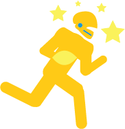 Gold infographic of a football player