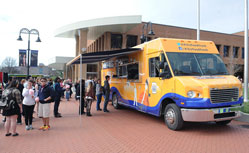 Kent State's Food Truck serving customers in front of Risman Plaza