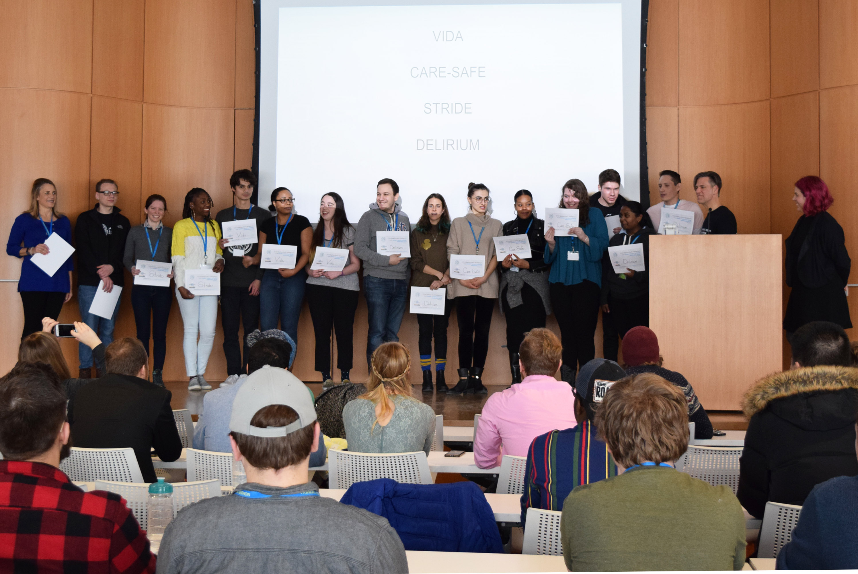 Winners on stage during the 2019 Fashion Tech Hackathon