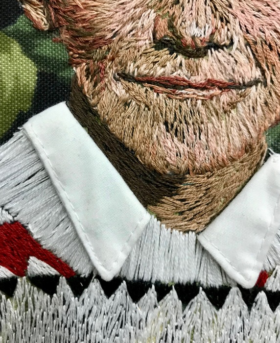 """""""Glasgow Sweater"""" by Eileen Woods, 2018. Embroidery on fabric."""