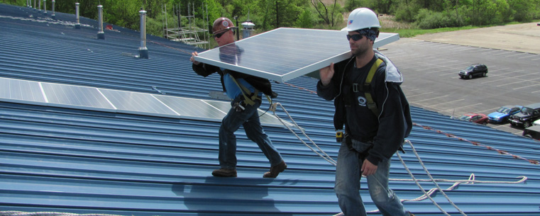 Installation of Solar Panels on the roof of the Kent State University Field House, May 2012