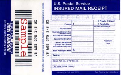 insured mail receipt