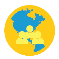 Graphic of three yellow people in front of a blue and gold globe