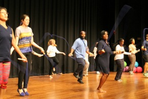 Employees Jump Rope at the Employee Appreciation Event held in Sept. 2014.