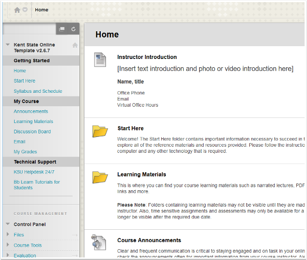Screenshot of Blackboard and Course Home Page