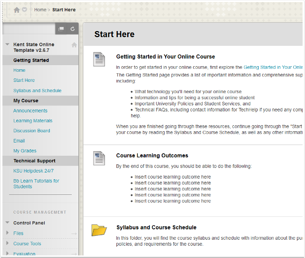 Screenshot of Blackboard and Course Start Here Page