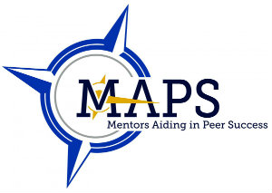 Mentors Aiding in Peer Success, also called MAPS, blue and yellow logo.