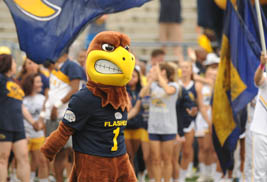 Flash, the Kent State University mascot, spreads cheer during a Homecoming game.