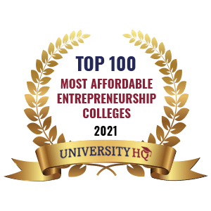 Ranked as one of the top 100 most affordable entrepreneurship colleges by UHQ