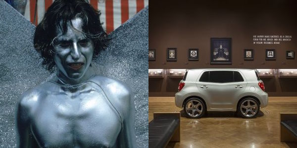 Work by Richard Myers (left) and Mark Mothersbaugh (right), courtesy of MOCA Cleveland