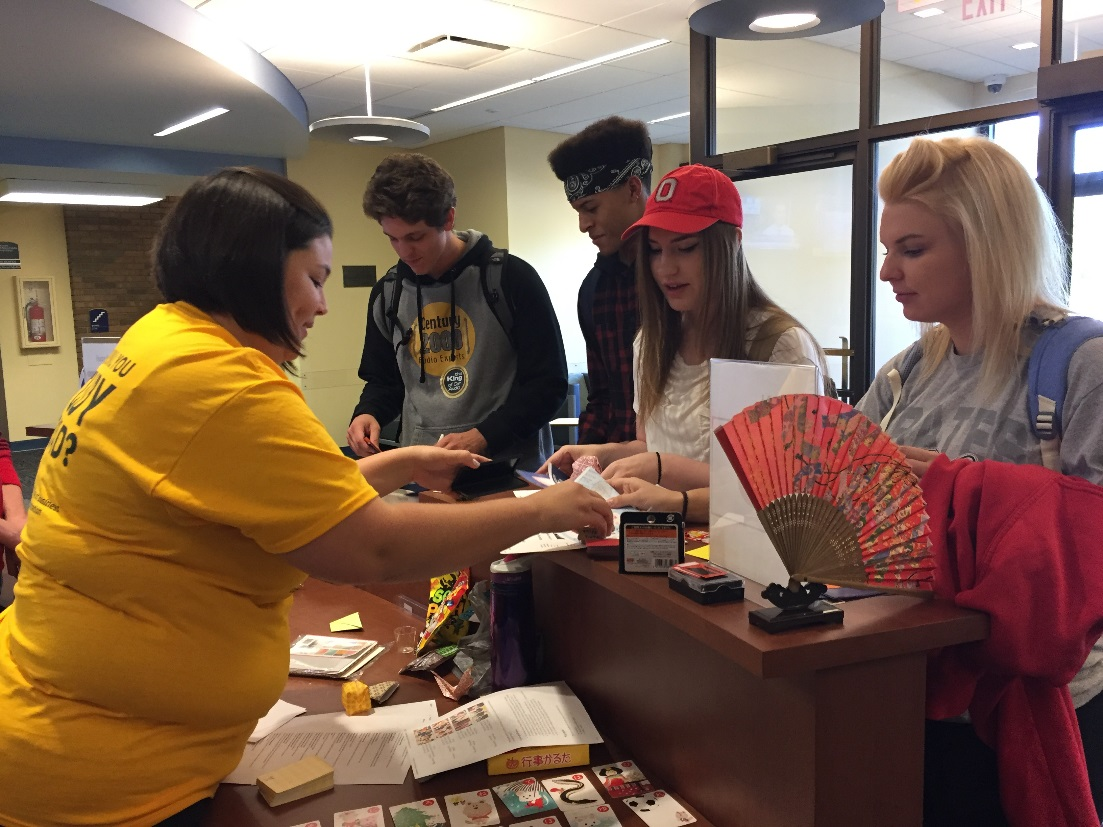 Students learned origami at the Japan table