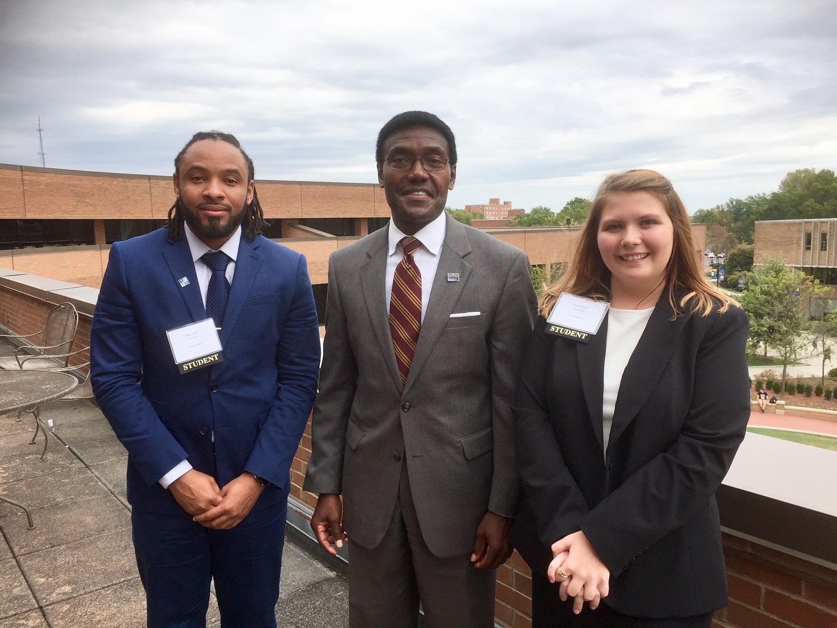 photo Kareem Rogers, Dr. Nettey, Courtney Flickinger SURE Award Ceremony