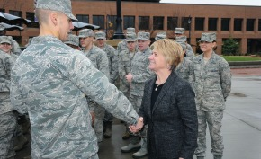 President Warren shakes a cadet's hand during the 2014 Veteran's Recognition Event.