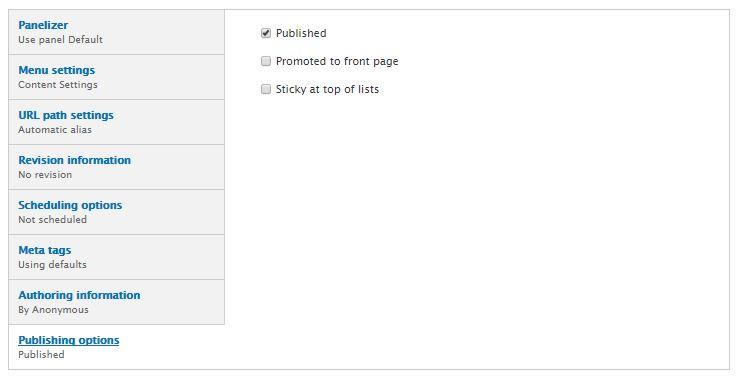 Publishing options screenshot