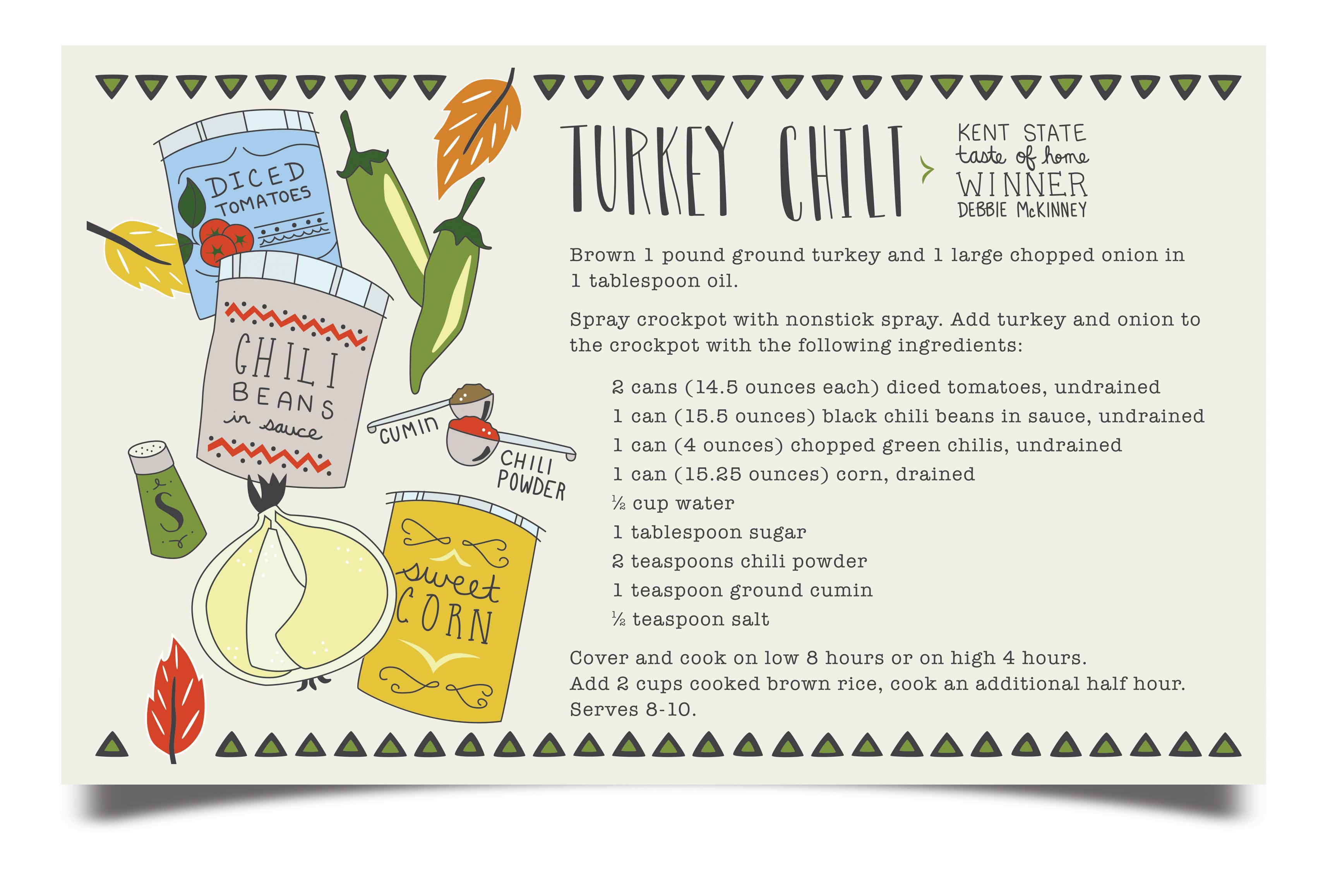 Turkey Chili Recipe card illustrated by Susan Hazel Rich