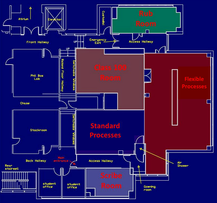 Equipment Resources Diagram showing where each room is located