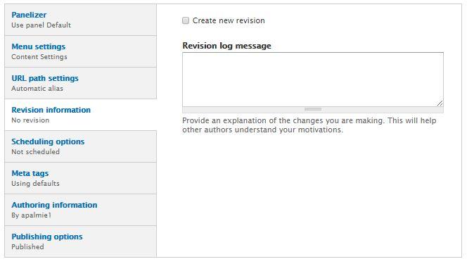 Revision information screenshot