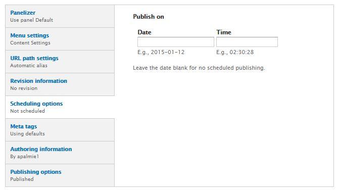 Scheduling options screenshot