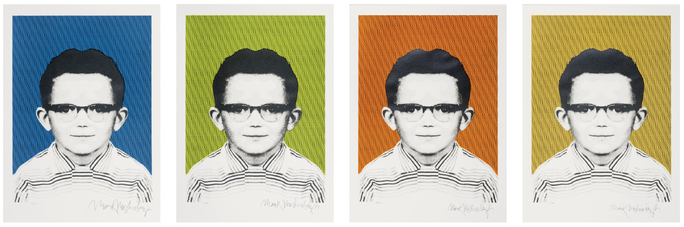 These limited-edition screen prints of Mark Mothersbaugh's School Days were pulled by Kent State senior printmaking majors Casey Engelhart and Katie Metcalf under the direction of printmaking professor Michael Loderstedt.