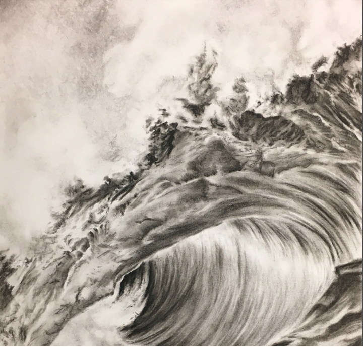 """Waves"" Charcoal Drawing by Victoria Jones."