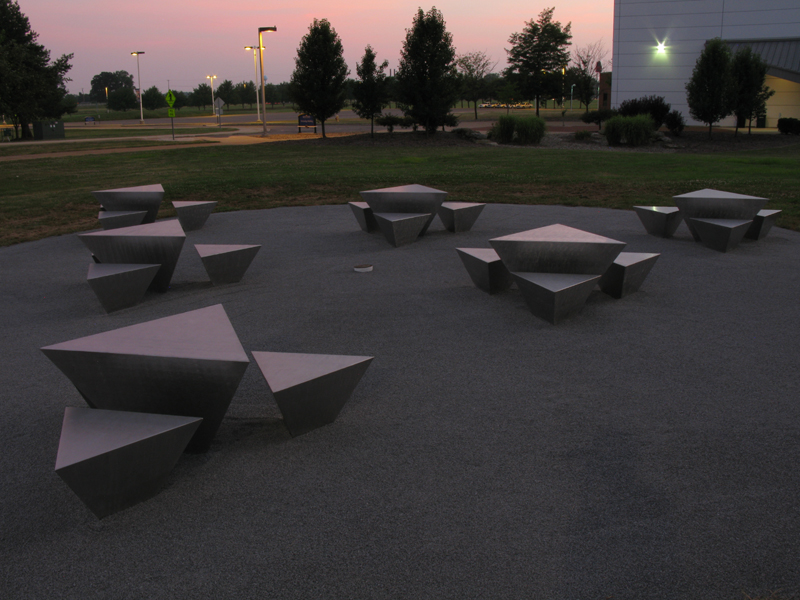 """""""Tetra"""" by David Colbert, as seen in the evening light at Kent State at Trumbull Science and Technology Building."""