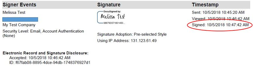 DocuSign Official Time Stamp