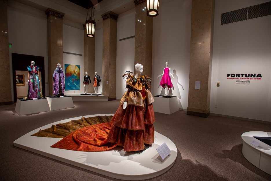 "Exhibition shot - ""Fortuna: Designs by Vincent Quevedo"" on display now in the Kent State University Museum."