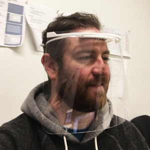 Man Wearing a 3D Printed Face Shield