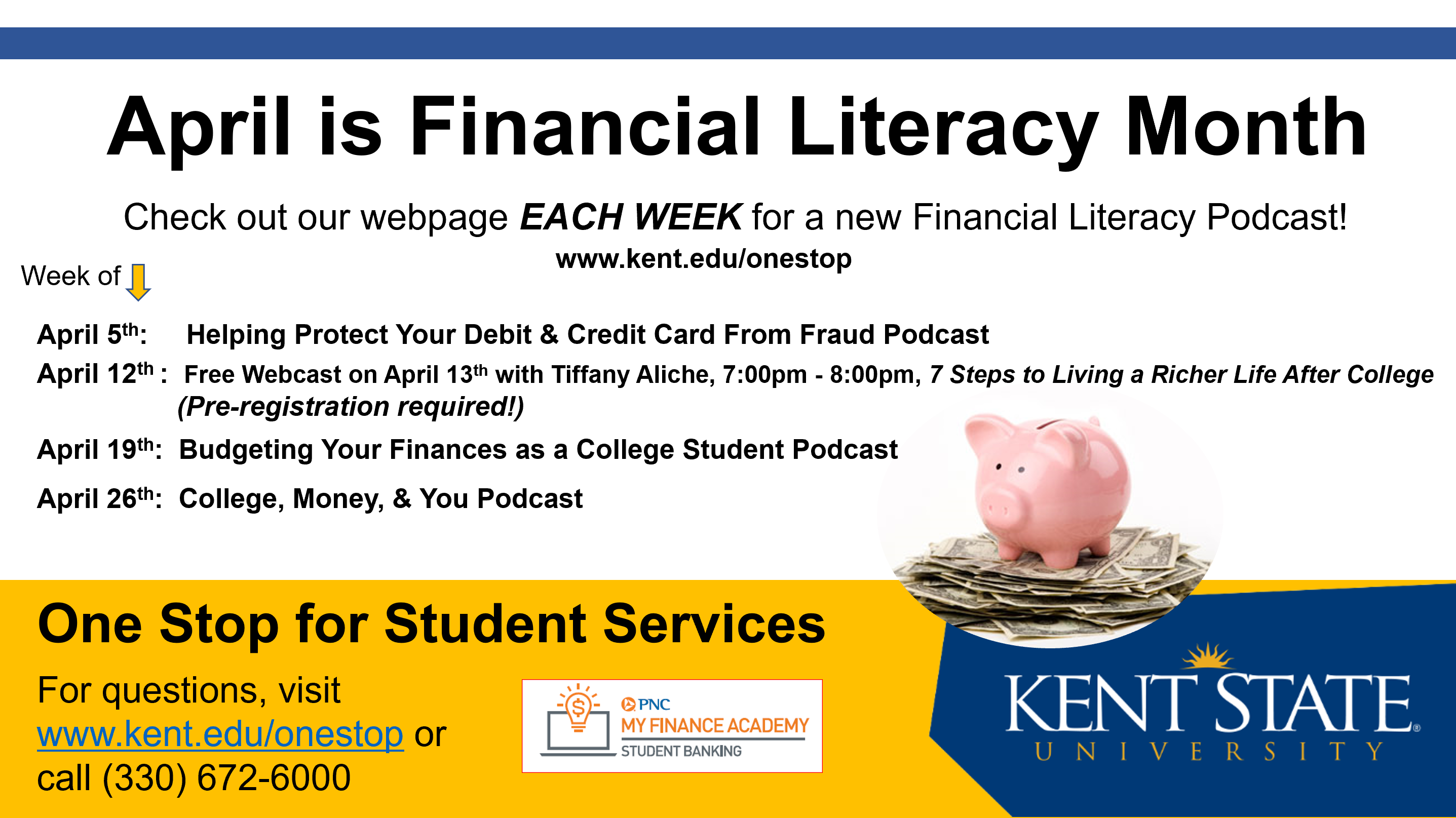 A flier for a financial literacy event taking place over the course of April 2021 featuring various podcasts to be posted online